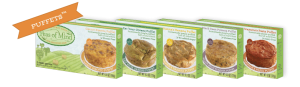 Puffets are available in 5 flavors: Nana's Banana, Carrot Risotto, Black Bean Polenta, Eat Your Greens and Mama's Pasta.