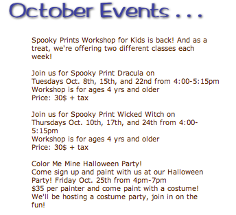 image from Color Me Mine.  Click for the entire October Schedule!