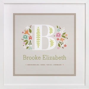 Customizable Prints are available to include birth and name information!