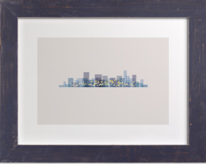 A City at Night! Image in Midnight with Distressed Indigo Frame