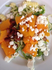 Cook Pancetta and roast butternut squash first.  Cook Zucchini Noodles.  Add pancetta and butternut squash, salt, pepper, red pepper flakes and garlic. Top with goat cheese.